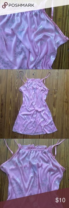 ☔️☔️ 3 FOR 10 SALE Pink & Silver Nightgown Beautiful pink gown detailed with silver flowers. Super thin and sheer, 100% polyester, feels cool to the touch. EUC- think I only wore it twice!! Adjustable spaghetti straps. Ruffle detail on top of front. Bundle & save. Happie Intimates & Sleepwear