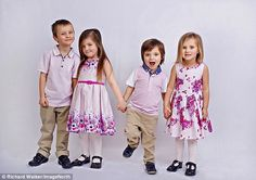 Donna and David Cordingley had two sets of twins within 12 months. James and Olivia (left) aged 4 with George and Isabella (right) aged 3 are from Barnsley. Fraternal Twins, Barnsley, Age 3, Pregnancy, Flower Girl Dresses, Couples, Wedding Dresses, 12 Months, David