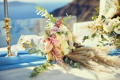 Romantic wedding with bohemian elegant touches in Santorini│ Kate & Dylan - Chic & Stylish Weddings Wedding Vows, Our Wedding, Destination Wedding, Dana Villas, Beautiful Blue Eyes, Blush And Gold, Most Romantic, Bridal Looks, Santorini