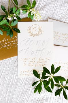 Copper gold and grey wedding stationery with calligraphy