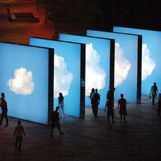 """Take a walk through the clouds"" installation, by multimedia artist Eduardo Coimbra. In Rio de Janeiro, in front of the Estádio do Pacaembu."