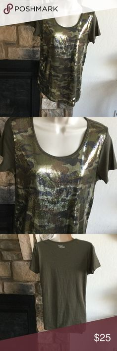 """DKNY Top NWOT Beautiful shades of green and brown sequins on the front and a military green on back.  Length from shoulder to bottom is 27"""" and armpit to armpit is 18"""" non smoking house (j) Dkny Tops"""