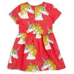 mini rodini unicorn star woven dress red 2