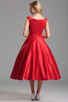 Ohnivo-červené vintage šaty S01292
