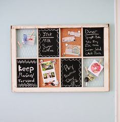 My window: Chalkboard x 2 (use Ben Moore create your color chalkboard paint to match office). Scrapbook paper behind 1 window to use as dry erase board, Corkboard for 2, and 8x10 family picture behind 1.
