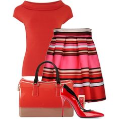 block,stripes and dots in red by cavell on Polyvore featuring moda, Alberta Ferretti, Sergio Rossi, Furla and Marc by Marc Jacobs