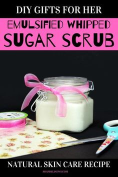 Whipped Sugar Scrub Recipe To Naturally Exfoliate & Hydrate Skin. If you have dull or dry skin, give it a boost with this homemade whipped sugar scrub recipe. Made with natural skin care ingredients, this DIY whipped sugar scrub naturally exfoliates and hydrates skin. So you get soft, beautiful glowing skin with a more youthful appearance. Say goodbye to tight, dry, itchy or even flaky skin today by adding this easy, homemade beauty recipe to your natural skin care routine! #whippedsugarscrub