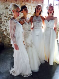 4 beauty's wearing gowns from the new Wild Romantics Collection. Designed and made to order!