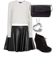 Outfit with leather skirt x