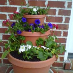 Patio flower pots done!!  And another version of stacking pot - gives height to your project.