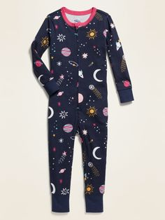 Space-Print Pajama One-Piece for Toddler & Baby Cute Little Girls Outfits, Toddler Girl Outfits, Toddler Fashion, Kids Fashion, Toddler Pajamas, Baby Girl Pajamas, Girls Clothes Shops, Kids Dress Wear, Petite Fashion