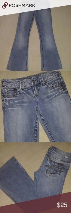 "Silver Jeans for Lady's Flare leg, worn/faded wash, super cute!! Have been hymmed, as they were too long. They are a size 26/30""inseam. Silver Jeans Jeans Flare & Wide Leg"