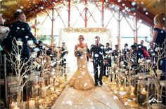 Winter Weddings / Snow Machine/  Lake Tahoe Winter Wedding / aisle decor /   Designed by Fearon May Events, Floral - Accents by Sage, Lighting and DJ - Extreme Productions, Photography by Theilen Photography. Edgewood Lake Tahoe