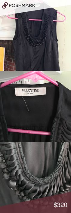 Black silk Valentino tank U-Neck Roma top Sumptuous black silk top from Valentino with silk bobbles lining the U-shaped neckline. Worn just once. In excellent condition. Size 40/4. Made in Italy :) Valentino Tops Blouses