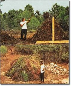 The Jean Pain Way - Brushwood Composting Overview and harvesting the heat and methane at the same time.
