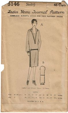 Ladies Home Journal Sewing Pattern 5146. Found in the Spring 1926 Catalog. Unprinted Pattern Pieces.   eBay!