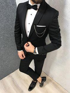 Check Oblivion Groom Suit – Black Product: Slim-Fit Shawl Collar Grooms Vest Suit Color Code: Black Size: Suit Material: viscose, poly Machine Washable: No Fi. Slim Fit Tuxedo, Slim Suit, Tuxedo For Men, Taxido Suit, Suit Jacket, Wedding Dress Men, Wedding Men, Wedding Black, Men Wedding Suits