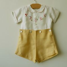 Cotton linen short set featuring ivory colored shirt with alphabet embroidery Circa 1935