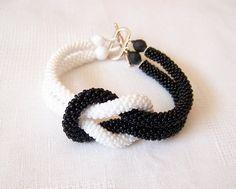 SALE - Beadwork - Bead Crochet Bracelet in black and white - Beaded Bracelet - Infinity Knot Bracelet - Beaded Bracelet Cuff
