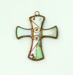 Little+Pearl+White+Cross++Stained+glass+by+recircles9+on+Etsy,+$19.00