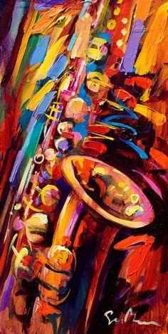 sax, painting by Simon Bull
