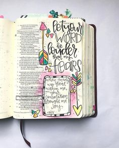 """""""Let your word be louder than my fears."""" My sweet friend sent a song that she had been listening to by Vertical Church Band. 😍 """"When anxiety was great within me, your consolation brought me JOY. Scripture Art, Bible Art, Bible Verses, Scriptures, Bible Drawing, Bible Doodling, Doodling Journal, Journals, Bible Journaling For Beginners"""