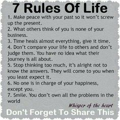 7 rules of life #life #peace #rules