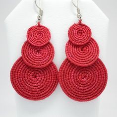 Handcrafted dyed sisal earrings from South Africa. For more information visit u… Handcrafted dyed sisal earrings from South Africa. Crochet Jewelry Patterns, Crochet Earrings Pattern, Crochet Bracelet, Crochet Accessories, Fabric Jewelry, Beaded Jewelry, Jewellery, Diy Earrings, Earrings Handmade