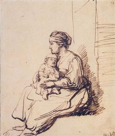 A Woman with a Little Child on her Lap - Rembrandt