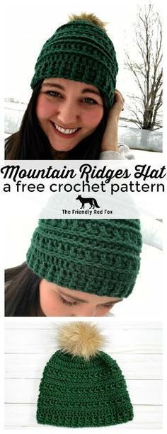 Crochet Beanie Ideas Mountain Ridges Crochet Hat- a free pattern - The Friendly Red Fox - This free crochet hat pattern has been a LONG time coming! I have wanted to make a matching hat ever since I made the Ribs Bonnet Crochet, Crochet Beanie, Knitted Hats, Knit Crochet, Crochet Hat For Men, Crochet Gift Ideas For Women, Crochet Toddler Hat, Crochet Hat With Brim, Crochet Adult Hat