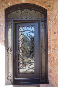 Id 301 105 Single Iron Door With Side Windows And Transom Front Door Entryway, Iron Front Door, House Front Door, Glass Front Door, House Doors, Entrance Doors, Glass Door, Door Gate Design, Main Door Design