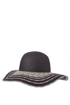 Woven straw - Contrasting monochromatic pattern - Floppy wide brim 100%  PAPER Summer Essentials f8a351f3e643