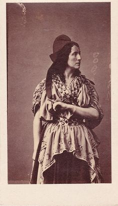 Adelaide Ristori was a popular 19th century Italian tragic actress, here dressed for the role of the Trojan prophetess Cassandra in an 1863 CDV by Disderi.