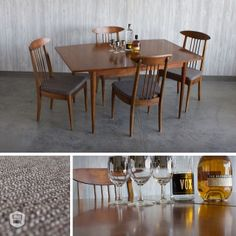 refinished & recovered mid-century, modern broyhill sculptra table set hutch has curated in Omaha, NE.  www.facebook.com/hutchmodern
