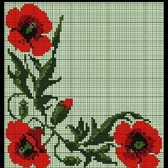 """Lovely little things: Embroidery cross: """"Poppies. … Lovely little things: Embroidery … - Tiny Cross Stitch, Cross Stitch Borders, Cross Stitch Flowers, Cross Stitch Charts, Cross Stitch Designs, Cross Stitching, Cross Stitch Embroidery, Hand Embroidery, Cross Stitch Patterns"""