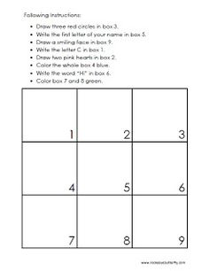 Following Instructions Printables