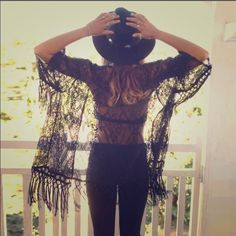 Black kimono tassel lace top ✨This is a definite must have!!!!!!!! Don't miss out on this great top!!!!!!  Tops