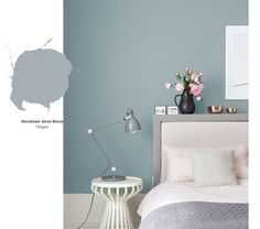 Bedroom : Inspirations Ideas Design Color 2018 Color Of The Year Interior Paint Bedroom Paint Colors Room Colors' Paint Ideas For Bedrooms' Home Paint Colors and Bedrooms Bedroom Wall Colors, Bedroom Color Schemes, Blue Bedroom, Trendy Bedroom, Modern Bedroom, Colour Schemes, Master Bedrooms, Blue Feature Wall Bedroom, Calming Bedroom Colors