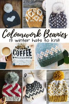 Lucky thirteen great colourwork knitting patterns to make! Most of them with super bulky yarn, so they knit up quickly! Perfect for beginner knitters to colourwork! Love these fun patterns! Fair Isle Knitting Patterns, Crochet Patterns For Beginners, Fun Patterns, Knit Patterns, Stitch Patterns, Crochet Beanie Pattern, Knit Crochet, Crochet Hats, Crochet Granny