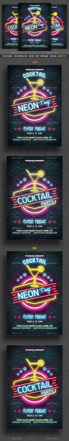 Neon / Cocktail Party Flyer Template PSD. Download here: https://graphicriver.net/item/neon-cocktail-party-flyer/16992181?ref=ksioks