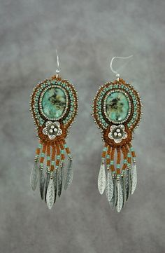 African Turquoise and Silver Flower Earrings by sedonaskye on Etsy, $89.00