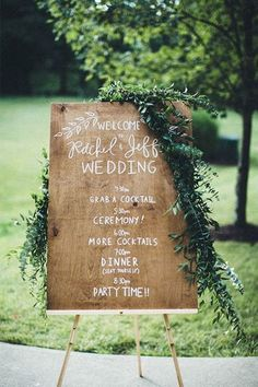 I would like to have a Welcome sign and an Order of Events sign. This one kid of combines the two. I like the white writing on wood