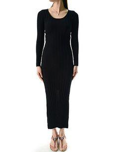 (WN04627-BLACK) Womens Slim Fit Crew Neck Ruffle Long Sleeve Pancil Dress
