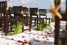 beach wedding décor....like the dark chairs. color contrast