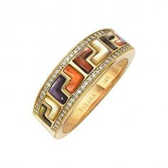 Kabana - Mother of Pearl  Diamond Mykonos Ring in 14k Yellow Gold (.15 ctw)