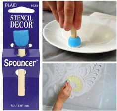Stencil Decor Spouncer / 1pc This innovative stenciling sponge on a handle is great for stenciling on any surface. Can be cleaned, and re-used while wet. Pounce, stipple or swirl on paint, it fits comfortably in palm of hand and uses less paint than bristle brushes.