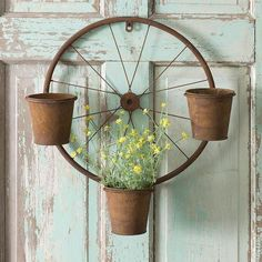 Rustic Bicycle Wheel Wall Planter - All About Bicycle Decor, Bicycle Rims, Bicycle Art, Country Decor, Rustic Decor, Farmhouse Decor, Country Farmhouse, Garden Crafts, Garden Art