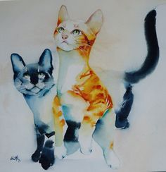 """Carte postale. Carte de voeux .Reproduction aquarelle chat """" le jeu  """" chat tigré roux et chat siamois bleu"""