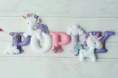 Unicorn nursery decor Unicorn banner unicorn name banner