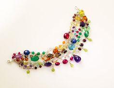 Luxe Multi Strand Rainbow Gemstone Bracelet  AAA by missashleylu, $489.00